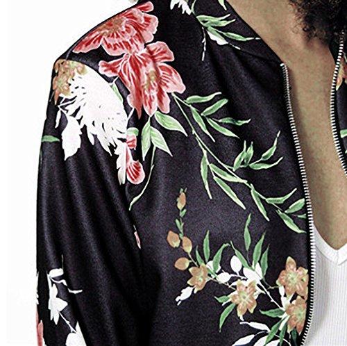 Jacket Trench Floreale Giacca Maniche Giubbino Con Giacche Primavera Casual Slim Lunghe Cerniera Nera Cappotto Moda Corta Elegante Donna Nero Autunno Fit Sportiva wgfRqdfOn