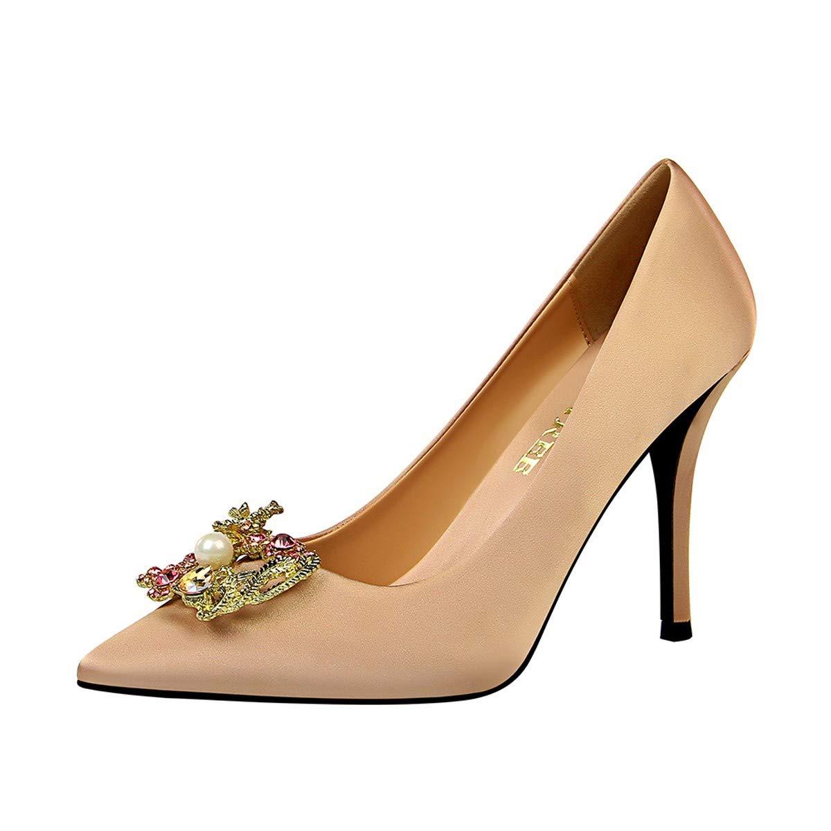 HBDLH Damenschuhe Mode Eleganz Heel 10Cm Bankett - Schuhe Seide Und Satin Flachen Mund Spitze Metall Perlen Wasser Läuft Schnallen Einzelne Schuhe