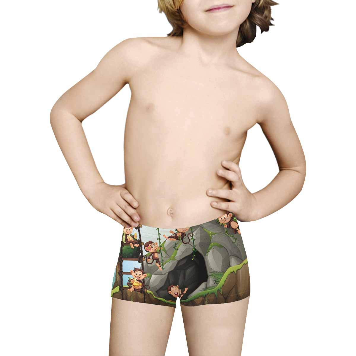 5T-2XL INTERESTPRINT Boys Scene with Monkeys Playing in The Cave ComfortSoft Printed Boxer Briefs