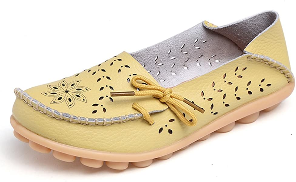 f37659578e2 Lucksender Womens Hollow Out Carving Casual Leather Driving Flat Loafers  Shoes 4.5B(M)