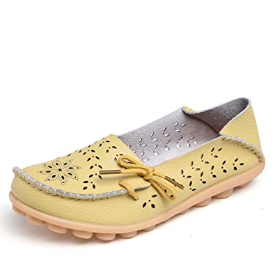 Women's Comfortable Leather Hollow Out Lace Up Casual Flat Shoes Driving Loafers