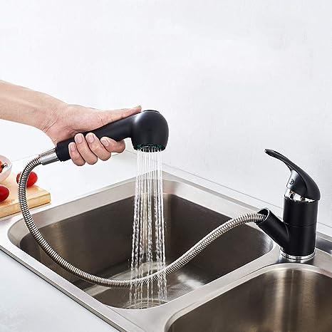 Ausziehbar Wasserhahn Spültischarmatur Einhand Küchenarmatur mit Brause Schwarz