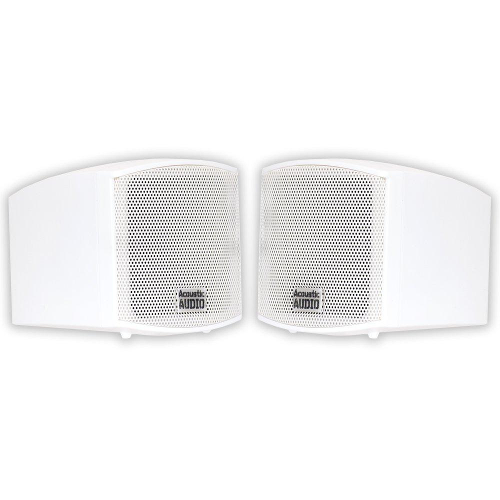 Acoustic Audio AA321W Mountable Indoor Speakers 400 Watts White Bookshelf Pair by Acoustic Audio by Goldwood