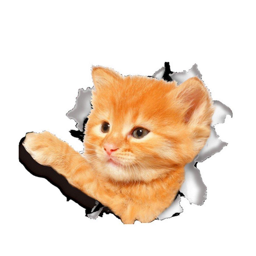 Autocollant de chat en vinyle Jysport 3D - Pour graffiti, ordinateur, bagages, vélo, mur, etc, Cat