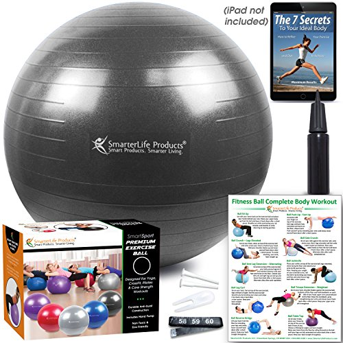 Exercise Ball for Yoga, Balance, Stability from SmarterLife - Fitness, Pilates, Birthing, Therapy, Office Ball Chair, Classroom Flexible Seating - Anti Burst, Non Slip + Workout Guide (Black, 75cm) by SmarterLife Products (Image #4)
