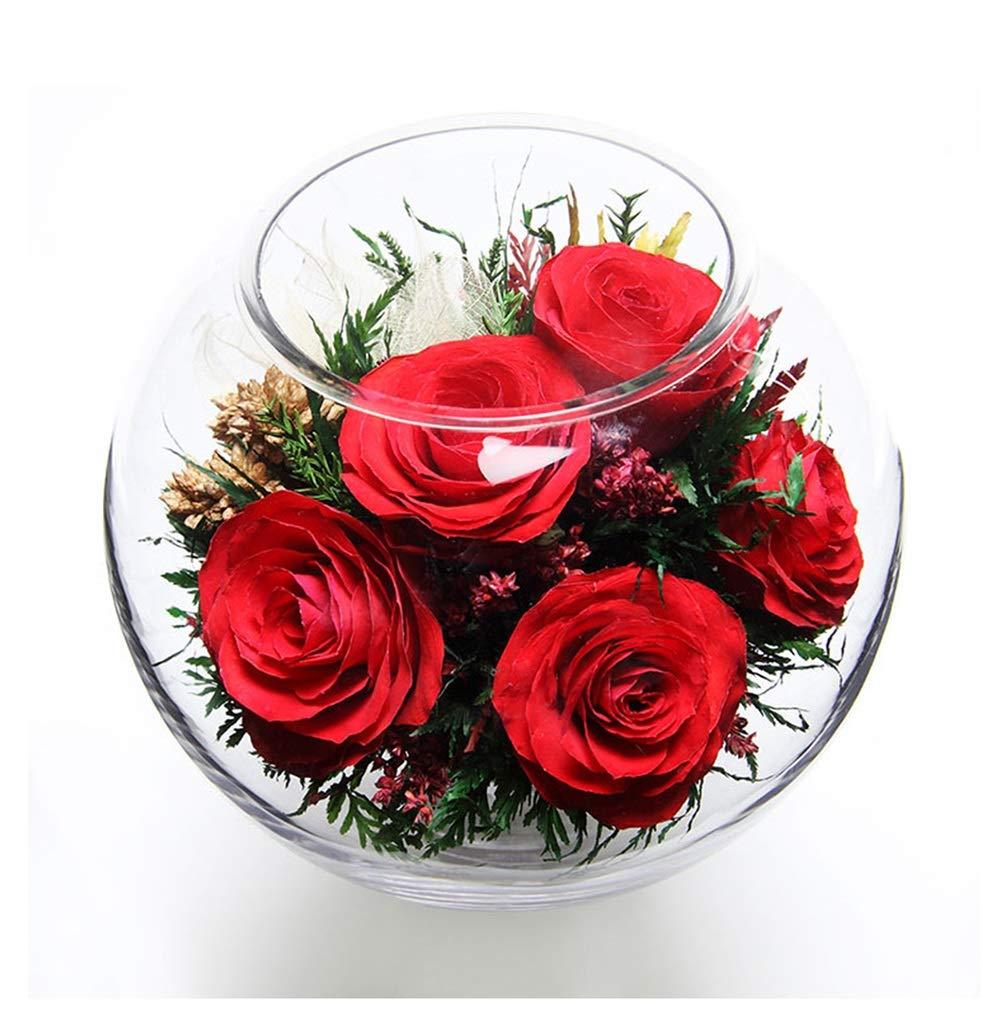 MWNV 永遠の花バキュームグラスダイニングテーブル装飾装飾デスクトップデコレーション花永遠の花 - 造花 3233 B07SQQW3QC