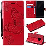 Samsung Galaxy S9 Case, Lomogo Leather Wallet Case with Kickstand Card Holder Shockproof Flip Case Cover for Samsung Galaxy S9 - LOKTU21669 Red