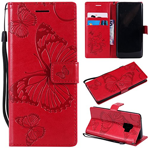 (Galaxy S9 Wallet Case,SMYTU Premium Emboss Butterfly Pattern Flip Wallet Shell PU Leather Magnetic Cover Skin with Wrist Strap Case for Samsung Galaxy S9 5.8