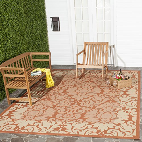 Safavieh Courtyard Collection CY2727-3202 Terracotta and Natural Indoor/ Outdoor Square Area Rug (7'10