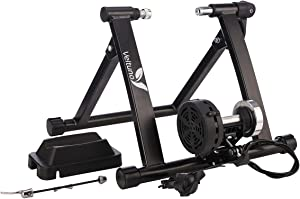 Veltuno Magnetic Indoor Bike Trainer Stand w/8 Speed Level Wire Control Adjuster,Foldable & Lower Noise & Quick Release, Portable Bike Exercise Stand for Mountain & Road Bikes