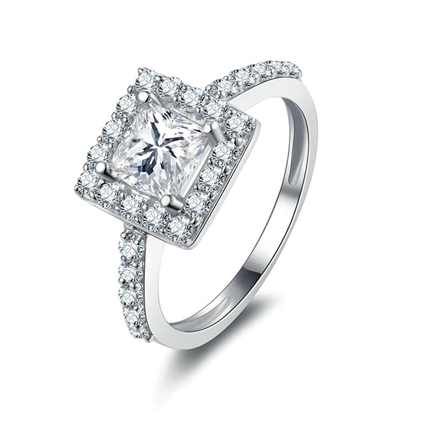 2df970ceed5bc Amazon.com: Aooaz Jewelry Wedding Ring Silver Material Girl's Square ...