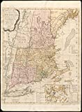 Historic Map   1776 Bowles's map of the seat of war in New England, comprehending the provinces of Massachusets Bay, and New Hampshire   Antique Vintage Reproduction