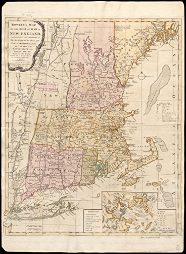 Historic Map | 1776 Bowles's map of the seat of war in New England, comprehending the provinces of Massachusets Bay, and New Hampshire | Antique Vintage - 1776 Map