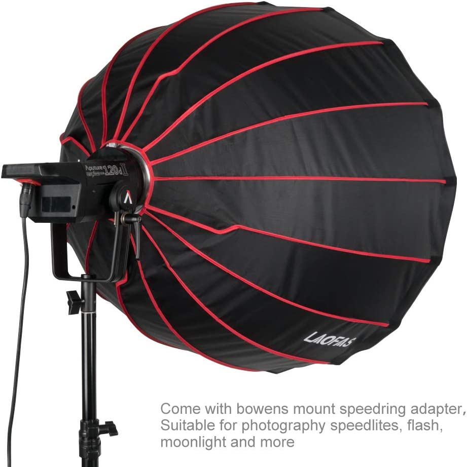 for Aputure 120D II 300D II Godox SL-60W SL-150W FV150 FV200 AD300PRO AD400PRO AD600BM and Other Bowens Mount Lights LAOFAS 35inch 90cm Deep Parabolic Softbox Quick-Setup Quick-Folding in 1 Minute