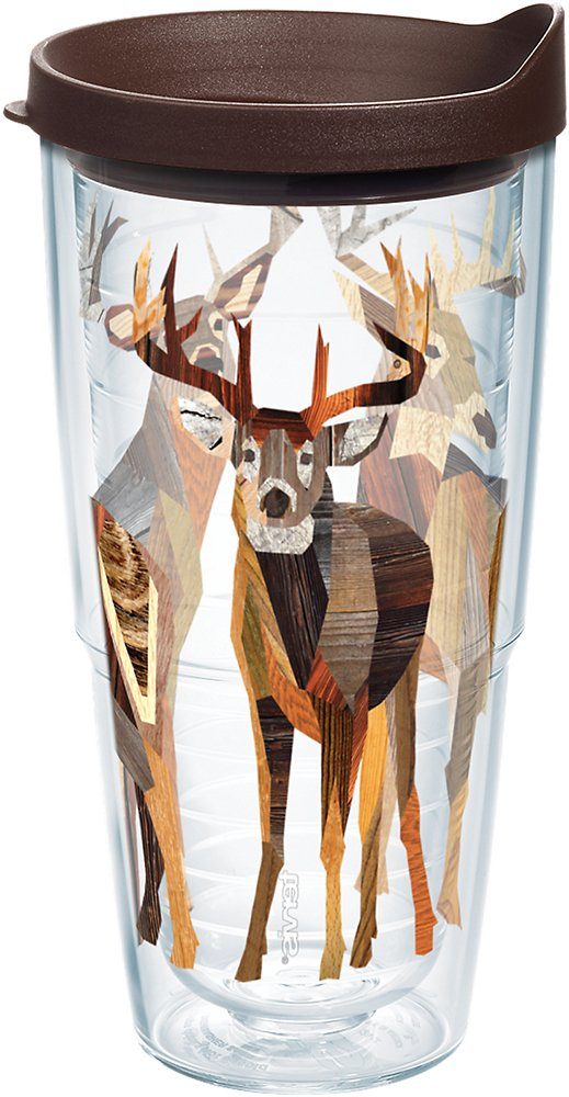 Tervis 1177965 Woodgrain Deer Tumbler with Wrap and Brown Lid 24oz, Clear