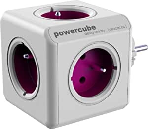 Allocacoc PowerCube ReWirable Travel Plugs–Multiple Travel Socket with International Adapters, 5Plugs 230V FR in Cube Shape (White and Purple)