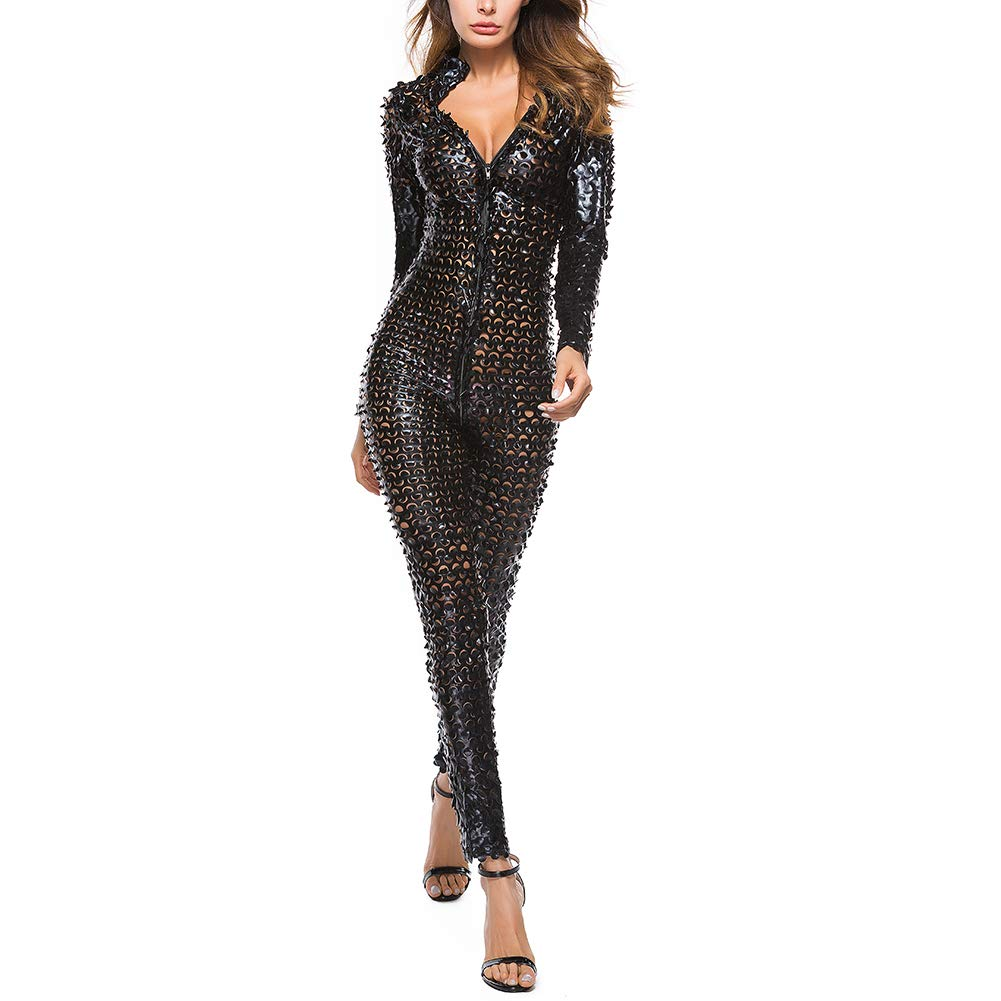 eb2a5748b2 IWEMEK Womens Wet Look Jumpsuit Faux Leather Catsuit Zipper Crotch Clubwear  Hollow Out Bodysuit See Through Bodycon Metallic Shiny Catwoman Cosplay  Costume ...