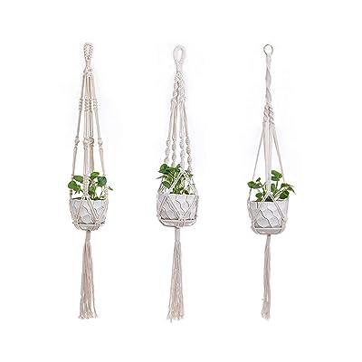 Miukada 3 Pack Plant Hanger, Macrame Hanging Planter/Planter Holder, Wall Art Boho Home Decor: Garden & Outdoor