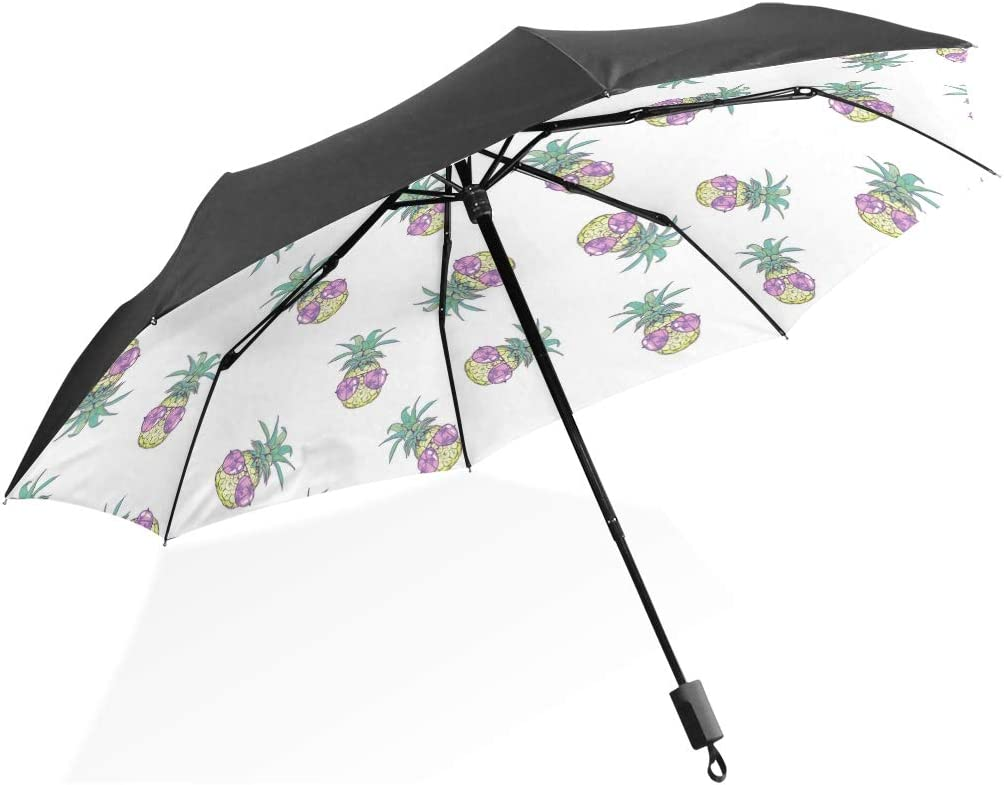 Cute Pineapple Art Folding Rain Umbrella Parasol Windproof Travel Sun Umbrella Compact