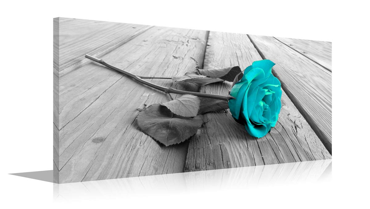 YPY Rose Wall Art for Bedroom Teal Floral Flower Black White Oil Painting Printed on Canvas Artwork Pictures Ready to Hang Blue, 20x40in