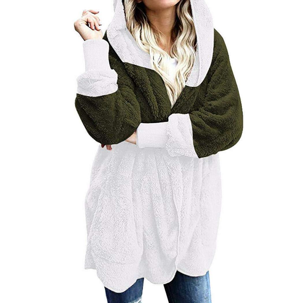pairris Outwear Patchwork Manica Lunga Cardigan con Cappuccio Donna Sciolto con Tasca Polo