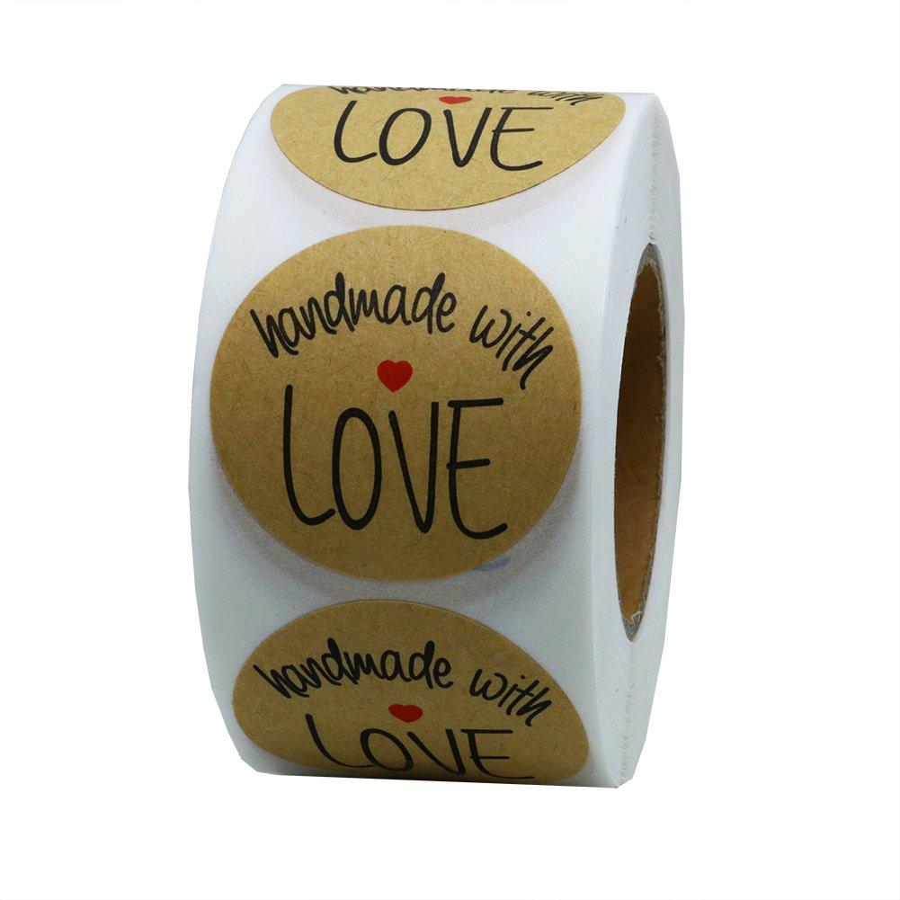 Hybsk (TM) 3, 8 cm inch Round Natural Kraft realizzato a mano con amore Adesivi con font nero totale 500 etichette adesive per rotolo 1 Roll