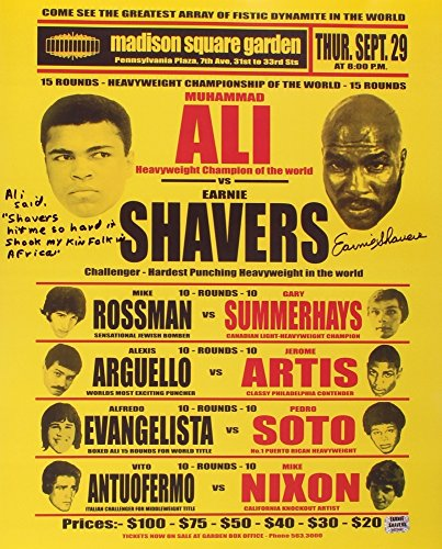 Earnie Shavers Signed 16x20 Replica 1977 Fight Poster vs. Muhammad Ali with Extensive Inscription (Shavers Hologram)