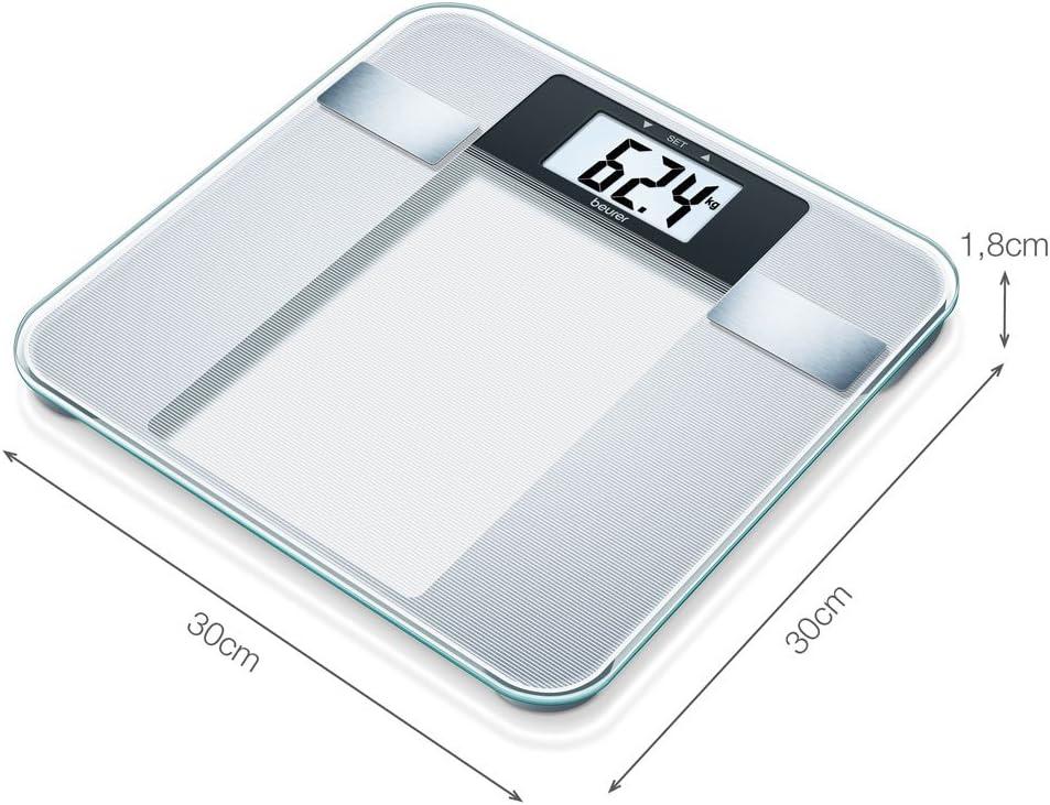 Beurer BG 13 - Báscula de baño diagnóstica de vidrio, cálculo del IMC, vidrio de seguridad, plataforma 30 x 30 cm, números con altura de 3.8 cm, ...