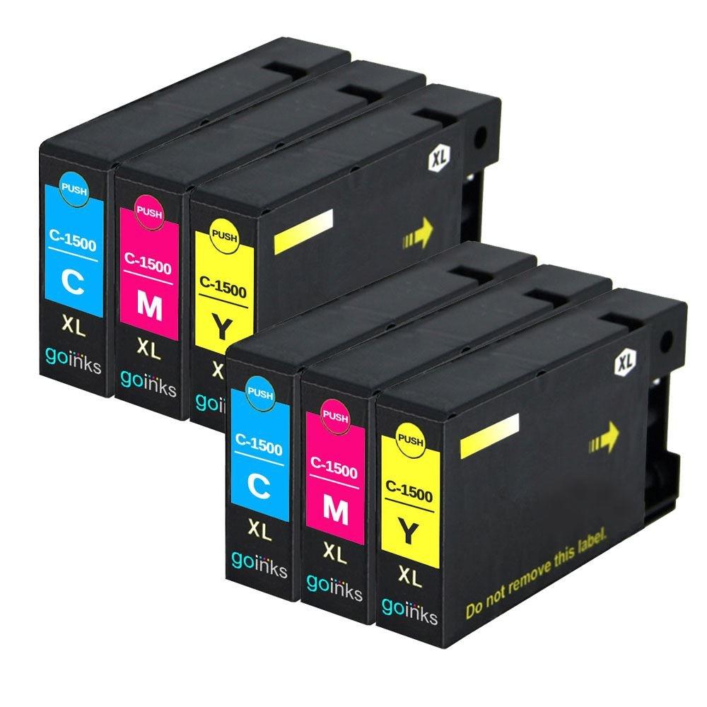 2 Go Inks Conjunto de de 3 C/M/Y Cartuchos de de Tinta para reemplazar Canon PGI-1500XL Compatible/Non-OEM para PIXMA Impresoras (6 Tintas) 03c89f