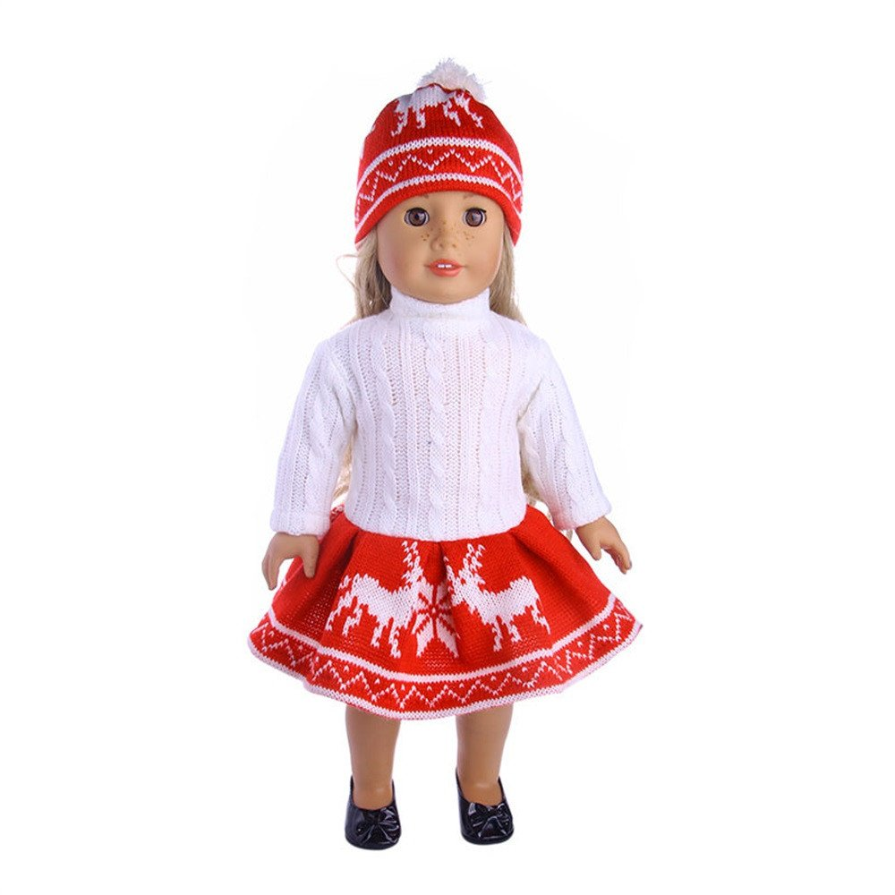 Vêtements pour poupées, YUYOUG Noël 2PC Doll Ensemble de vêtements Robe Pull + Chapeau for 18inch American Girl Our Generation Dolls Set