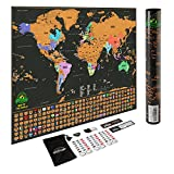 Scratch Off World Map Poster - Travel Map with US States and Country Flags, Tracks Your Adventures. Scratcher...