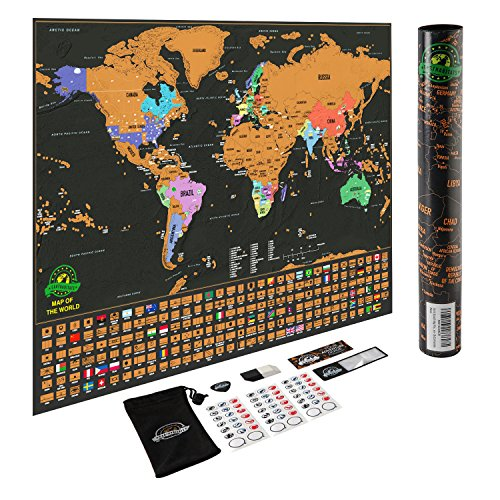 Scratch Off Map of The World - Deluxe Travel Map with US States and Country Flags, Full Accessories Set, Most Vibrant Colors, Tracks Where You Have Been, Perfect Gift for Travelers, by Earthabitats