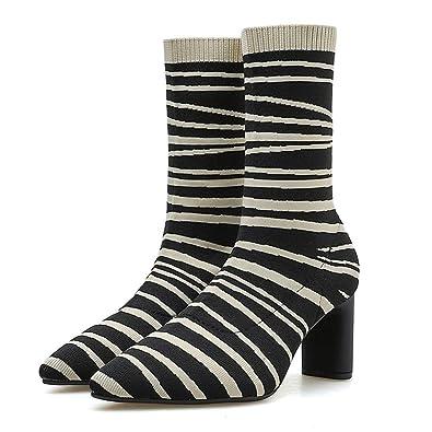 b14f61adb7c4c Amazon.com   Striped Boots with Heel, Fheaven Women Zebra Pattern ...