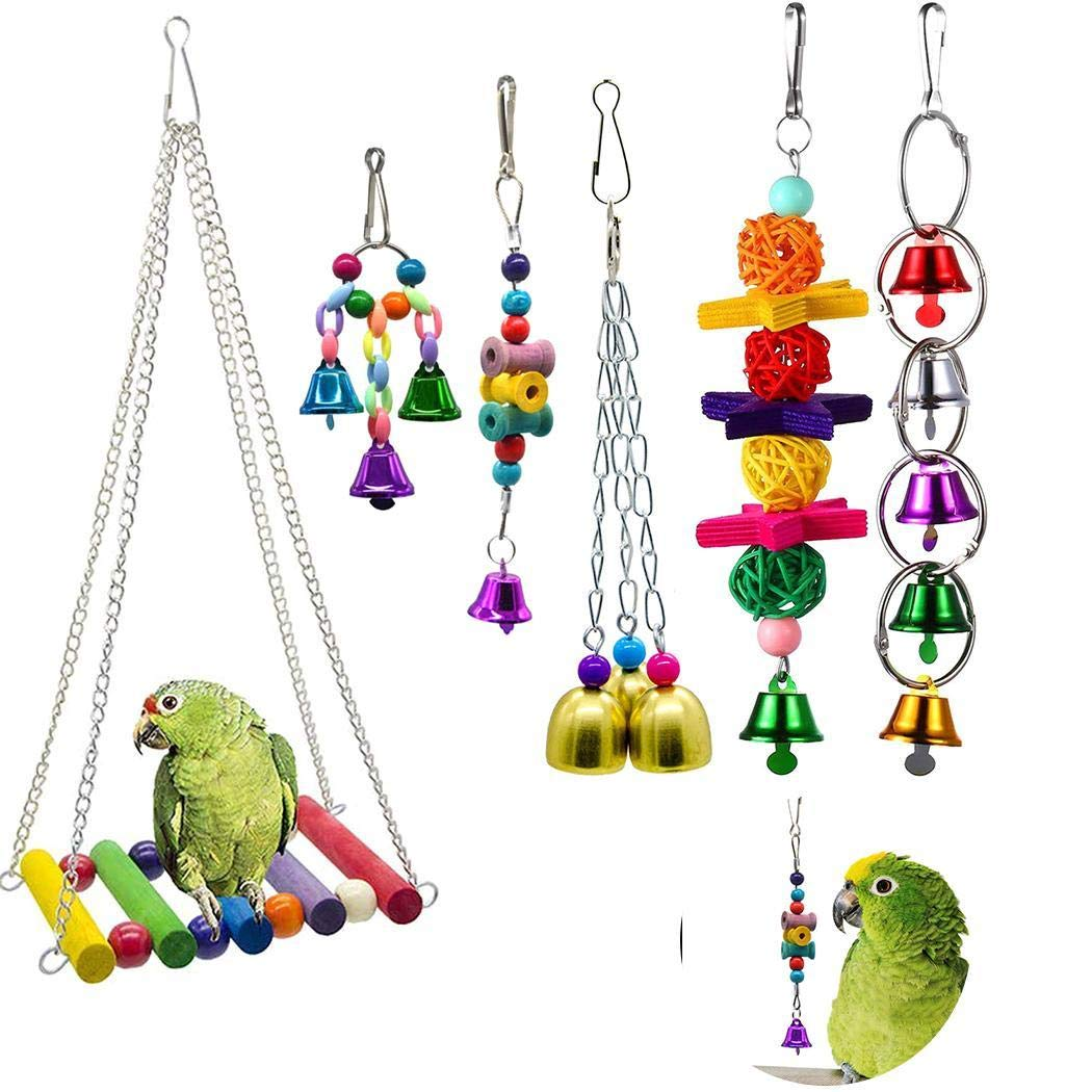 Ferita Parrot Chew Climb Stand Platform Pet Training Toy Bird Cage Hanging Swing Toy by Ferita