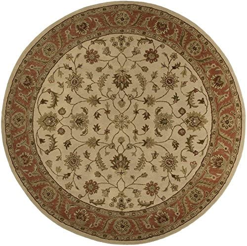 Surya Crowne Classic Hand Tufted 100 Wool Parchment 8 Round Traditional Area Rug