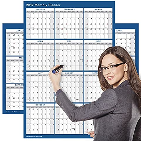Delane Large 2017 Yearly Wet and Dry Erase Wall Calendar, 24 x 36 Inches, 2-Sided Reversible Vertical/Horizontal, Mounting Tape Included (AWC-001) (Navy)