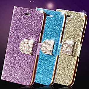 6 Plus Bling Shiny Diamond Full Case For Iphone 6 Plus 5.5 Inch Leather Phone Housing With Buckle Card Slot Stand Cover For i6 --- Color:Blue