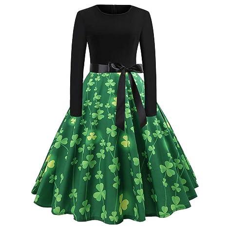 eba32c3010 Amazon.com   Haluoo Women s Vintage St. Patrick s Day Dress