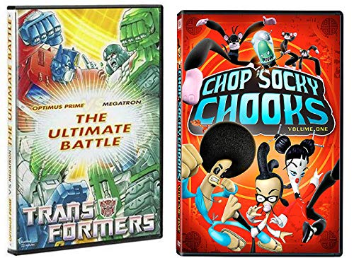 Ninja Chickens Vs Ultimate Robots Animated Mayhem: Chop Socky Chooks Vol 1 & Collector's Club Transformers The Ultimate Battle- Optimus Prime Vs Megatron (DVD Bundle) ()