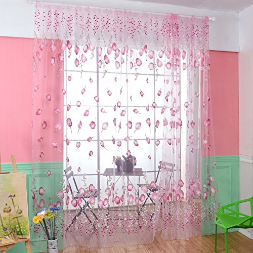 "BROSHAN Voile Tulle Curtain Draperies, Fresh Lovely Tulip Flowers Print Sheer Gauze Kids Girls Room Window Drapes Curtains Panel, Pink Transparent Window Treatments, Rod Pocket, 78"" x 39"",1 Panel"