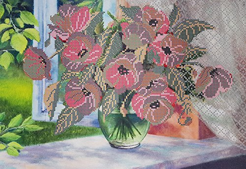 (Bead Embroidery kit Morning Poppies Beaded Cross Stitch Floral Pattern Needlepoint Handcraft Tapestry kit)
