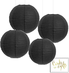 Andaz Press Hanging Paper Lantern Party Decor Kit with Free Party Sign, Black, 4-Pack, Modern Wedding Anniversary Bridal Shower Halloween Classroom Colored Event Supplies