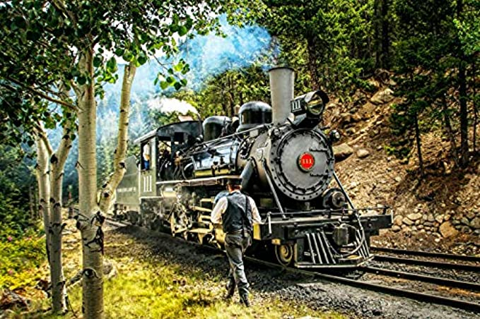 1000 Piece Jigsaw Puzzle, Adults and Kids, Vintage Train Engine,