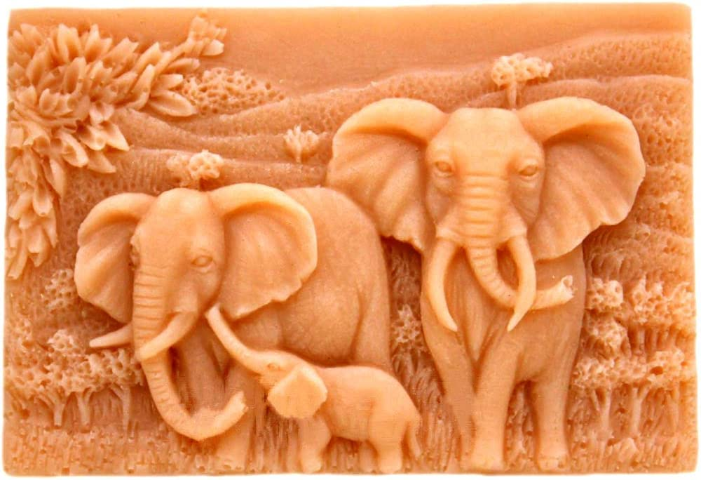 Elephant Silicone Mold Craft Soap Rectangle DIY Handmade Soap Candle Resin Mold