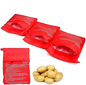 4 Pcs Potato Microwave Pouch, BESTZY Microwave Potato Cooker Bag Reusable Washable Fabric Potato Cooker Pouch Perfect Potatoes Just in 4 Minutes, Red