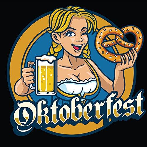 "Happy Oktoberfest Celebration Beer Maid Badge With Black Background - Holding Pretzel And Beer Vinyl Sticker (2"" Wide)"