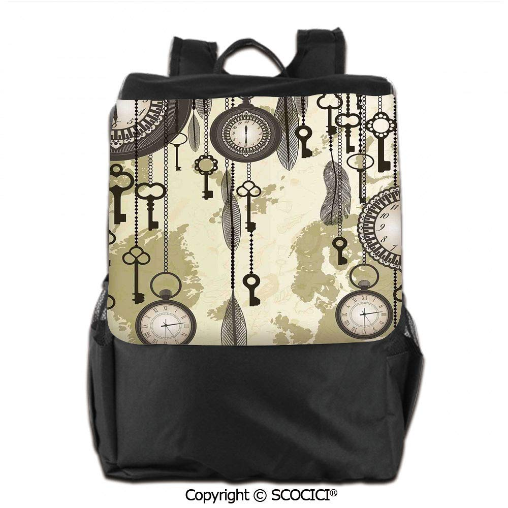 Amazon.com: Daypack Backpack,Old Days Design with 20s Cultural Items and Tribal Feathers Changing Trends Print,Backpack Men & Women School Travel,19 OZ: ...