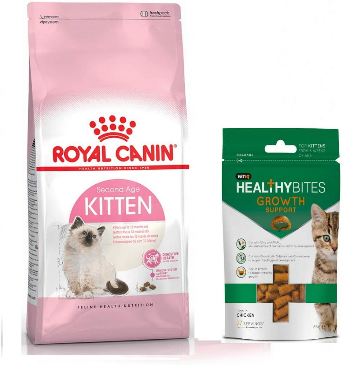 Royal Canin Second Age Kitten Dry Food 400 Gr And Kitten Treats Growth Support Amazon Co Uk Pet Supplies