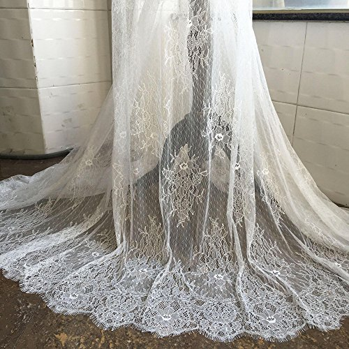 3 Meters Off-White Eyelash Lace Fabric Chantilly Lace Mesh Scalloped Floral Fall Lace 39 inches Width for Dress, Veil,Costume,Craft (Chantilly Lace Veils)