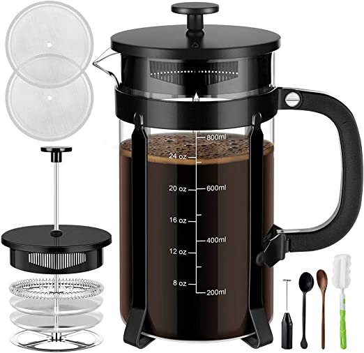 French Press Coffee Maker with 4 Filter Screens, Durable 304 Grade Stainless Steel Heat Resistant Borosilicate Glass Tea Maker (8 cups, 34 oz) with ...
